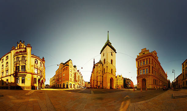 Brno Panorama of the city center of Brno at evening brno stock pictures, royalty-free photos & images