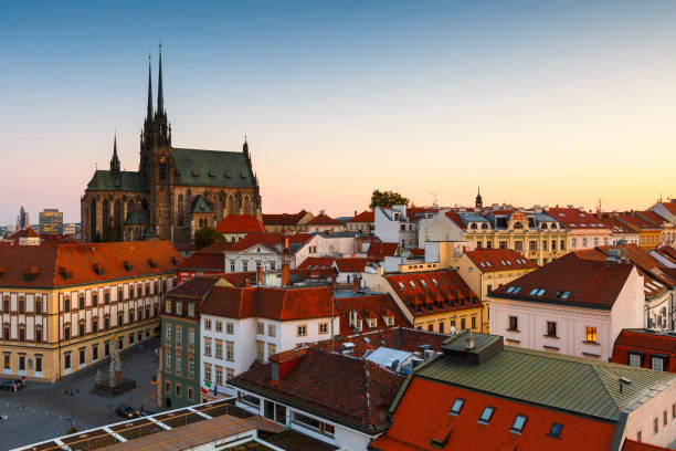 Brno. Old town of Brno as seen from the town hall tower. moravia stock pictures, royalty-free photos & images