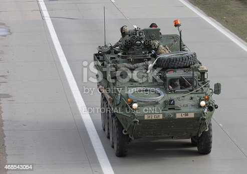 Brno,Czech Republic - March 30, 2015:Dragoon Ride - US army convoy drives through Czech Republic.  The U.S. military convoy, returning from the Baltic countries to a German base, entered the territory of the Czech Republic