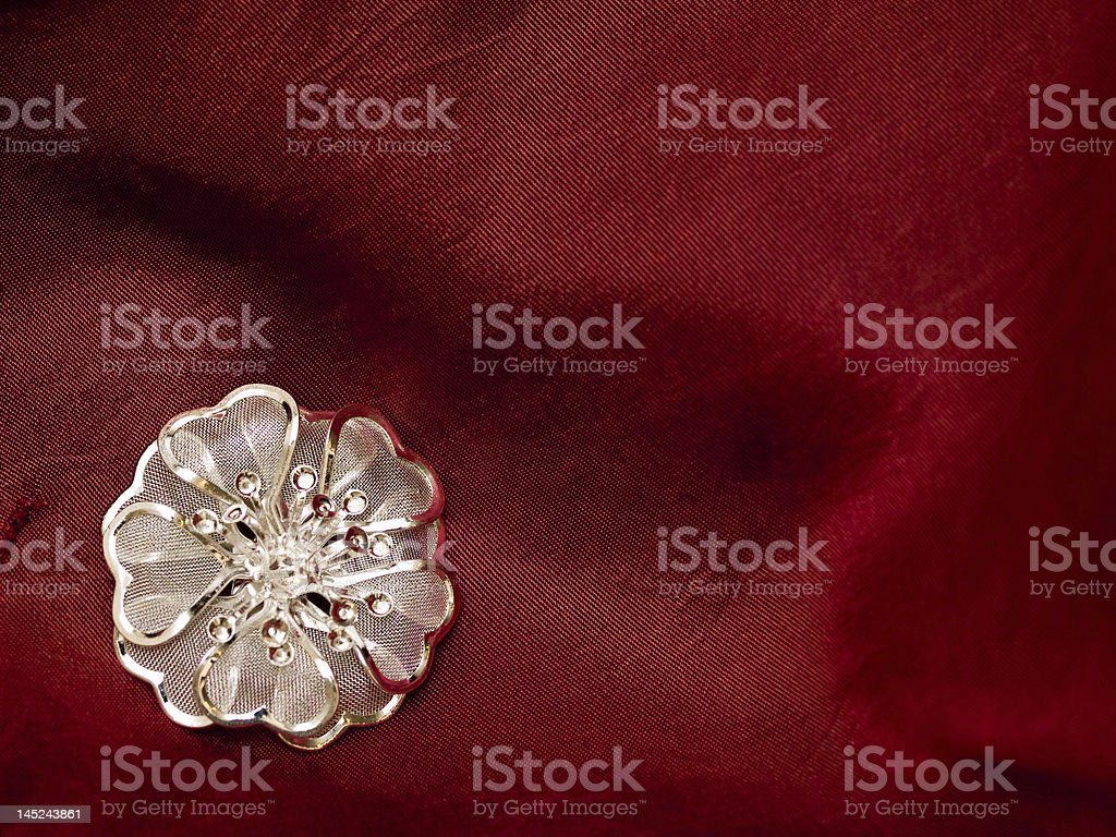 broach red silk royalty-free stock photo
