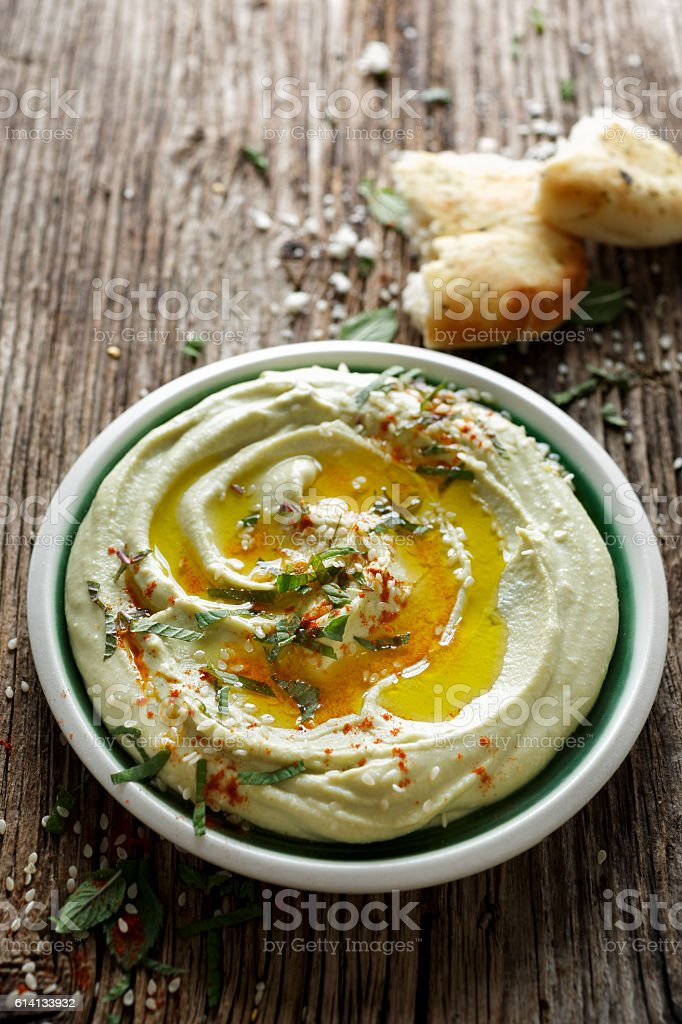 Broad bean hummus stock photo
