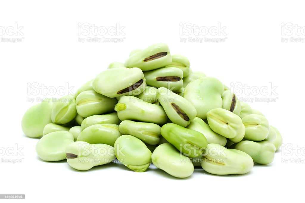 broad bean isolated on white background stock photo