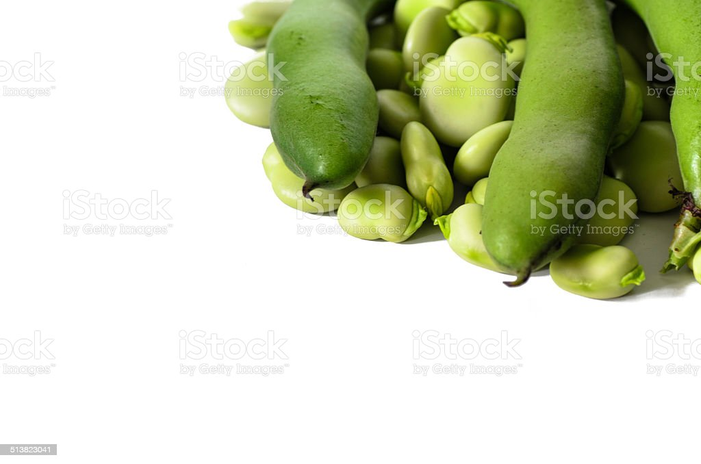 broad bean on white isolated background stock photo