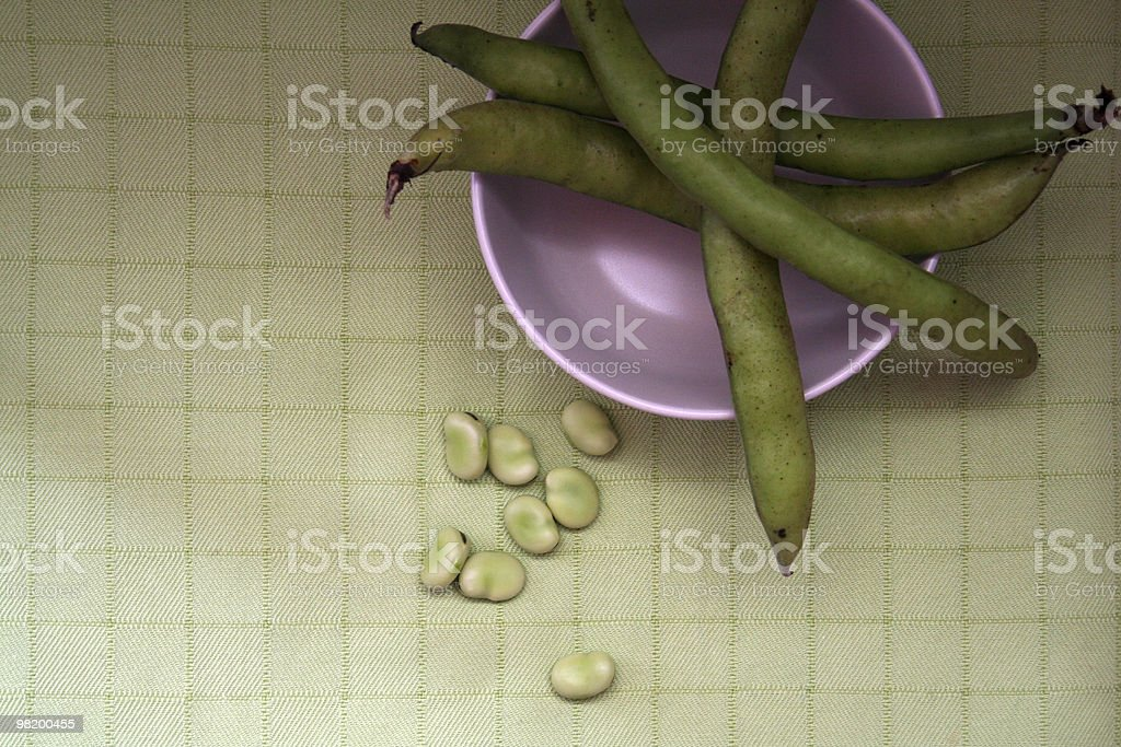 Broad beans and pods royalty-free stock photo
