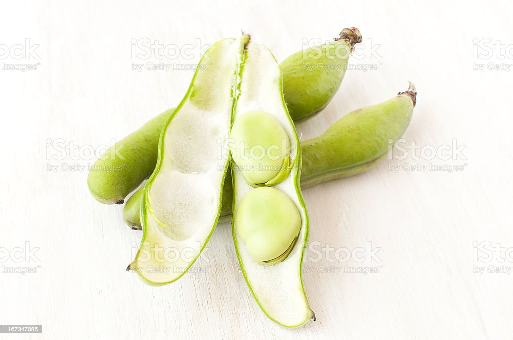 broad beans in a pod royalty-free stock photo