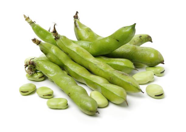 Broad beans on white background – zdjęcie