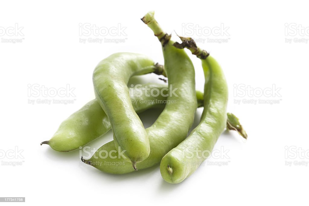 broad beans on white background royalty-free stock photo