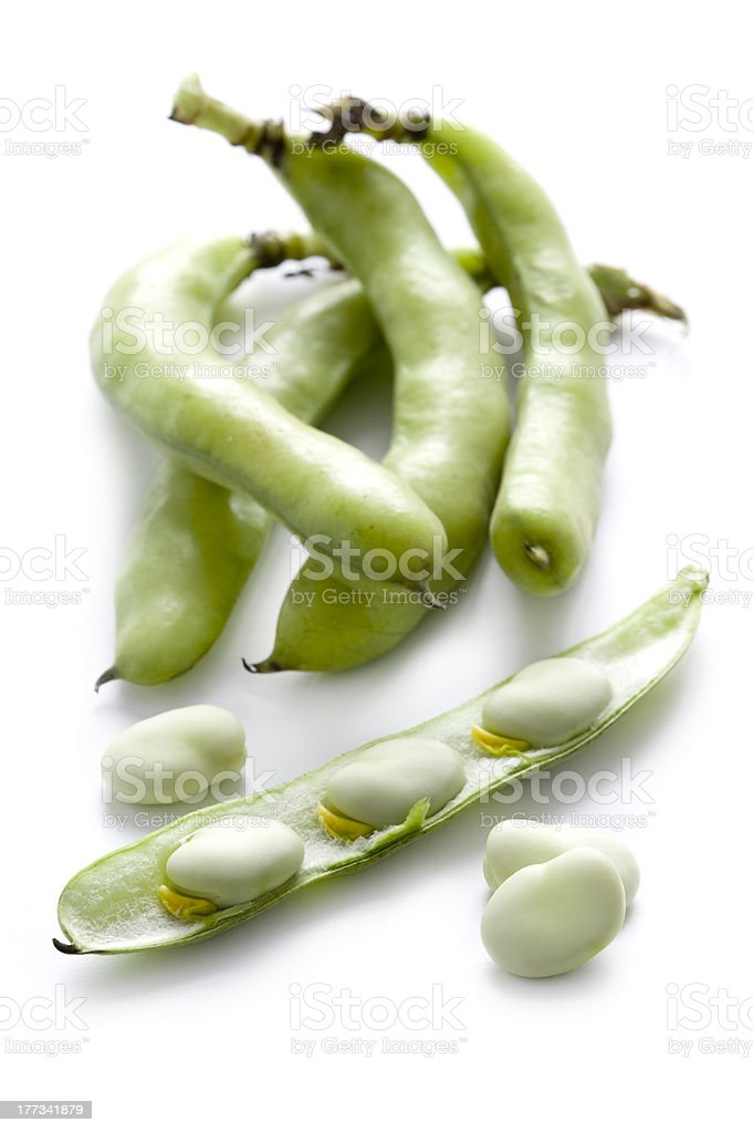 broad beans on white background stock photo
