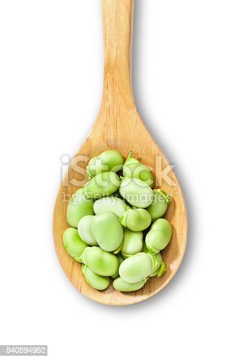 Wooden spoon with broad beans isolated on white background. DSRL studio photo taken with Canon EOS 5D Mk II and Canon EF 100mm f/2.8L Macro IS USM