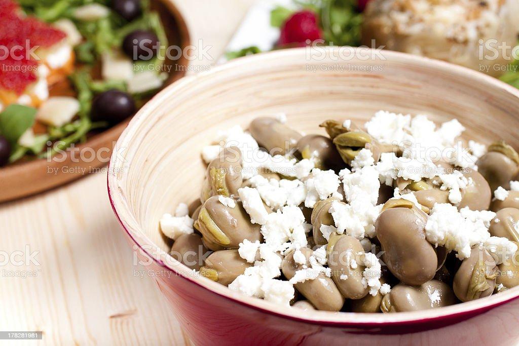Broad beans with pecorino cheese royalty-free stock photo
