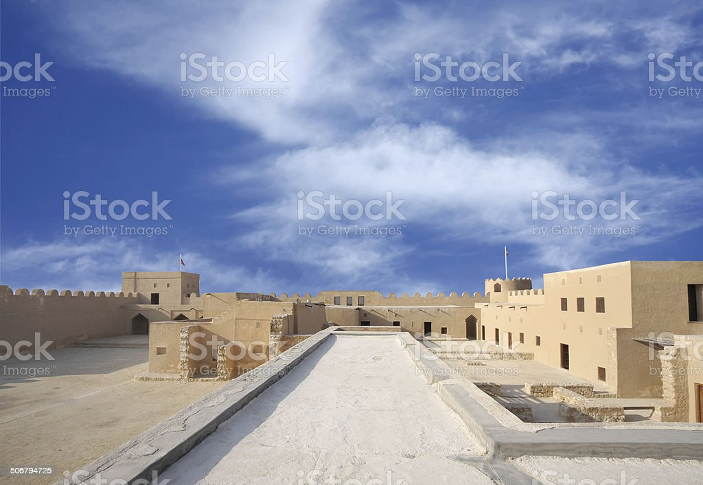 Broad inside view from level II, Riffa Fort, Bahrain stock photo
