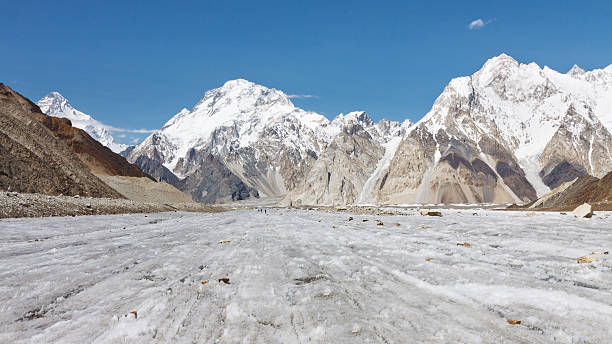 Broad Peak and Vigne Glacier, Karakorum, Pakistan stock photo