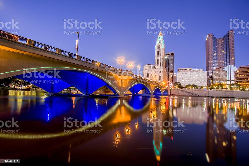 Broad  Street Bridge Scioto River Downtown Columbus Ohio Skyline HDR stock photo
