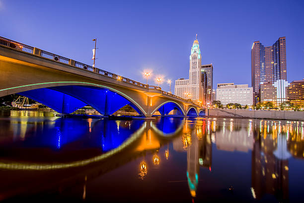Broad  Street Bridge Scioto River Downtown Columbus Ohio Skyline HDR stock photo