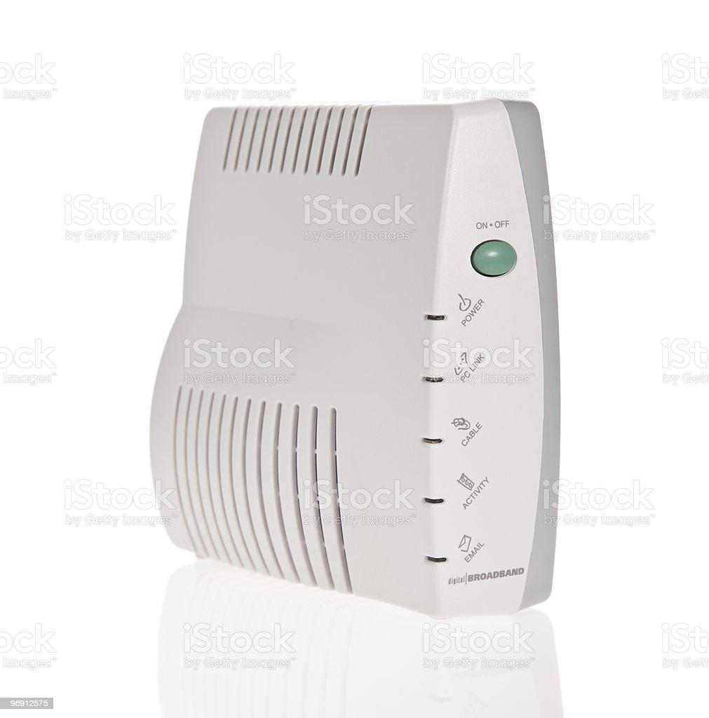 Broadband modem isolated on white royalty-free stock photo
