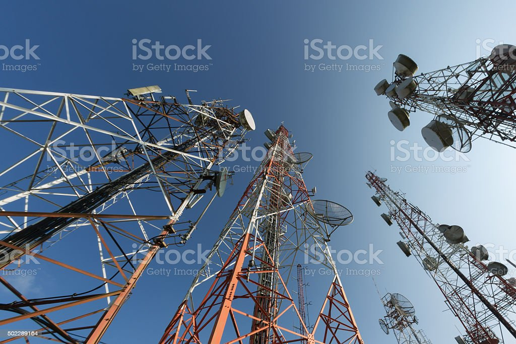Broadcasting antenna stock photo