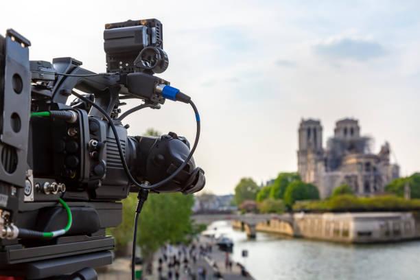Broadcasting in Paris stock photo