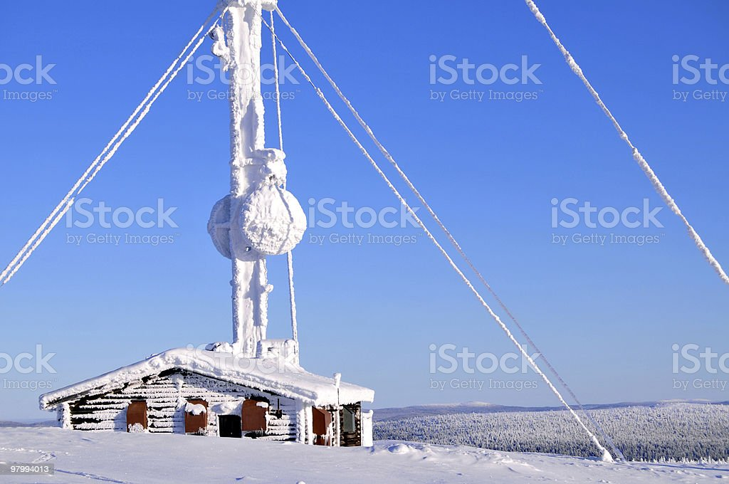 Broadcasting mast in the Arctic royalty-free stock photo