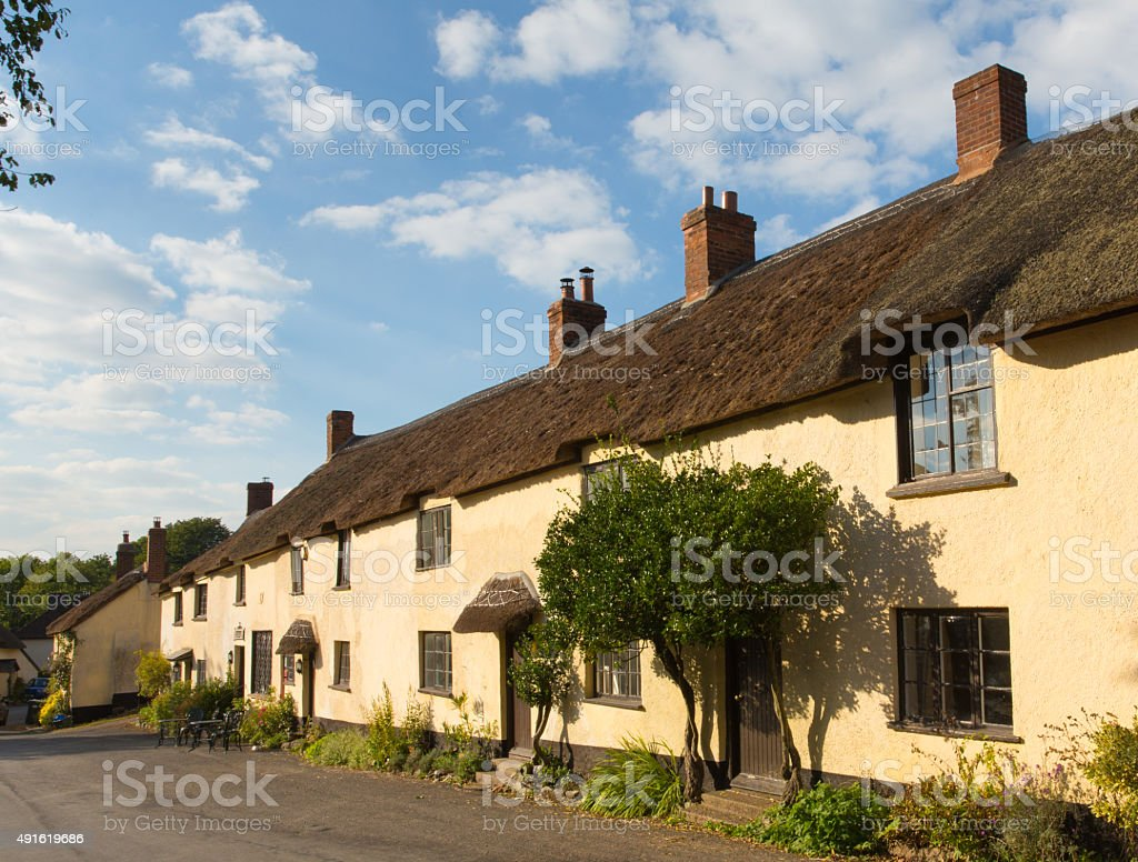 Broadhembury village East Devon with thatched cottages in Blackdown Hills stock photo