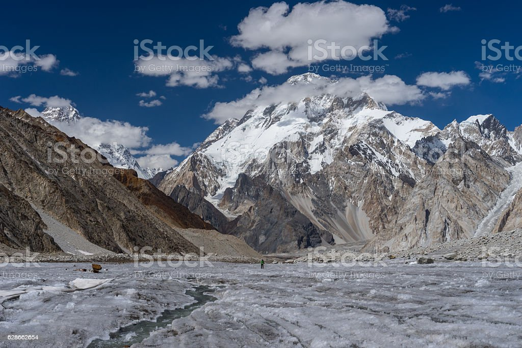 Broadpeak view along the way to Ali camp, K2 trek stock photo