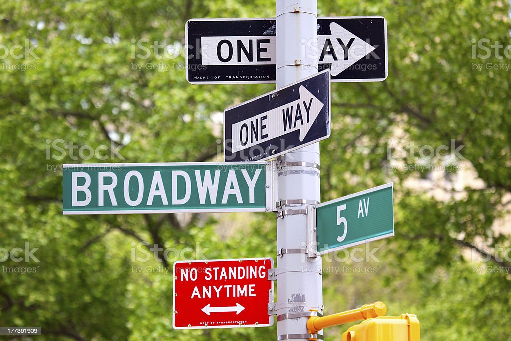 Broadway, 5th avenue and One Way Street Signs royalty-free stock photo