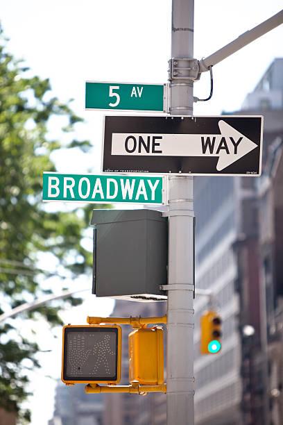 broadway und der 5th ave-schild, new york city - straßenschild stock-fotos und bilder