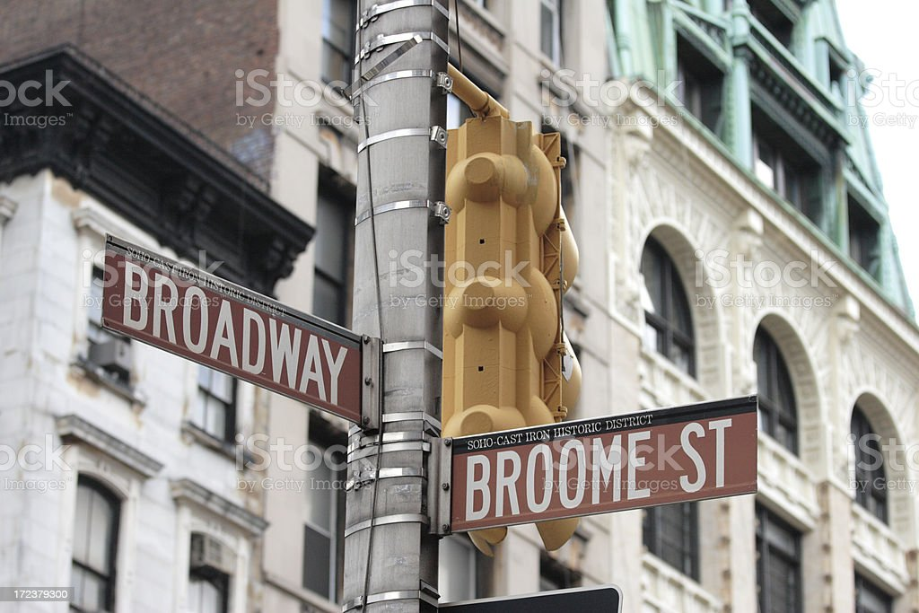 Broadway and Broome Street Signs Manhattan royalty-free stock photo