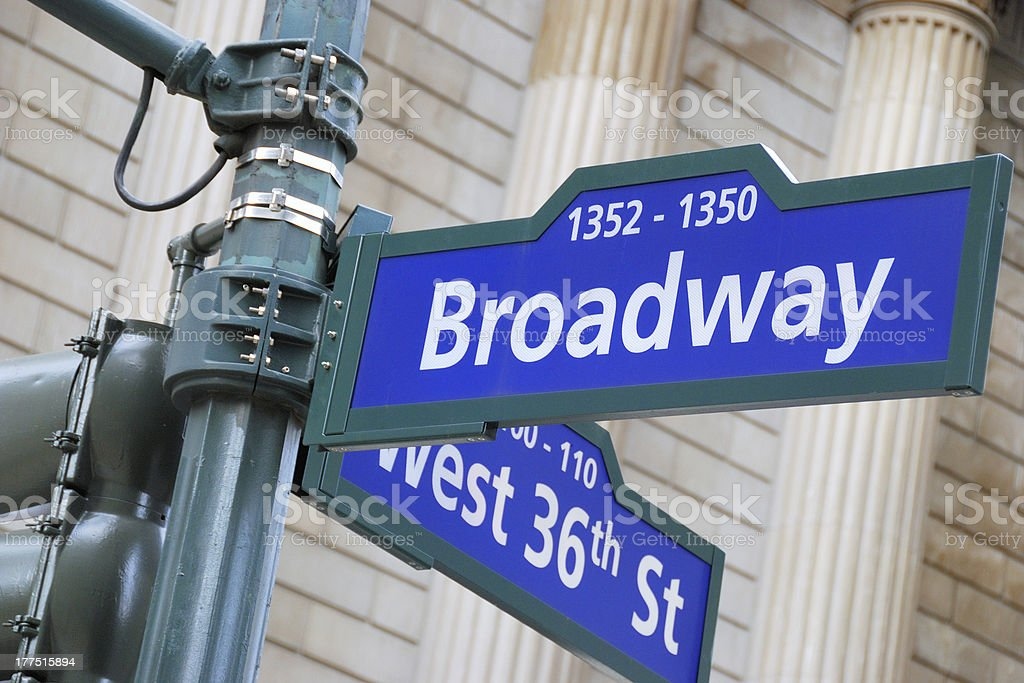 Broadway and West 36th Street sign stock photo