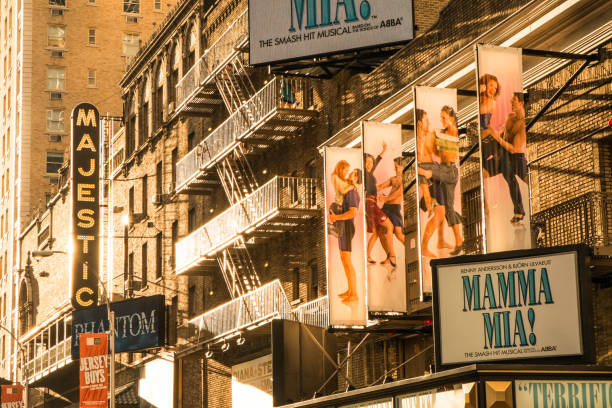 broadway at sunset - mamma mia stock photos and pictures