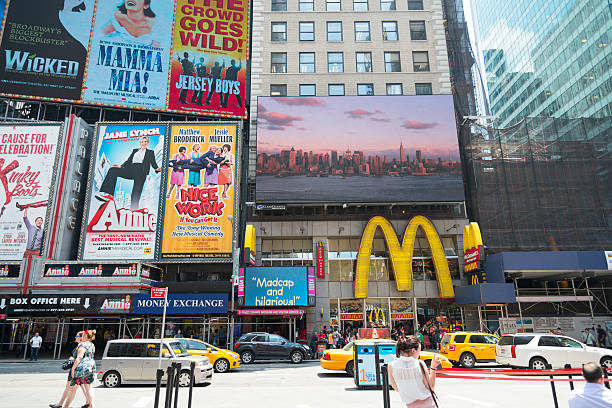 broadway billboards - mamma mia stock photos and pictures