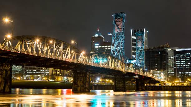 Broadway bridge stock photo