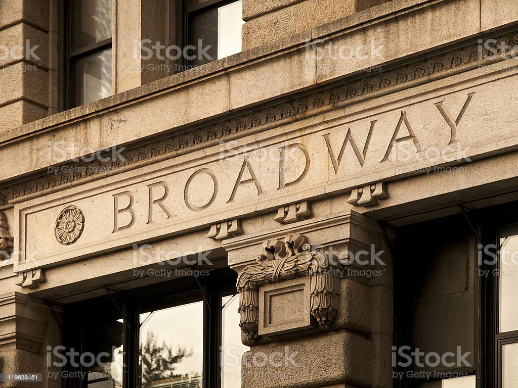 Broadway Engrave in a Manhattan Building stock photo