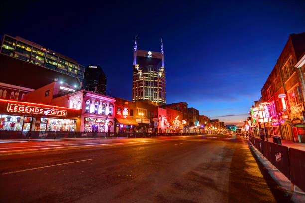 Broadway in downtown Nashville stock photo