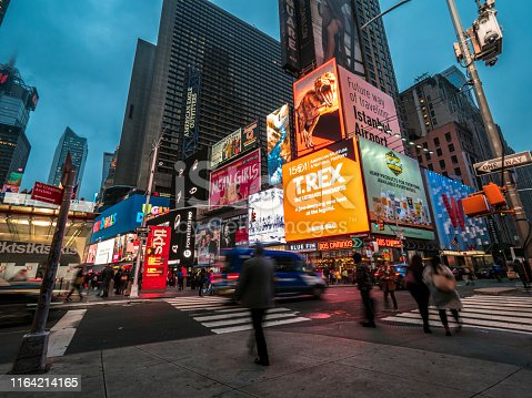 Broadway in Manhattan, New York City in the evening.