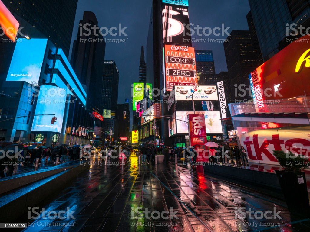 A view of Broadway in New York on a rainy day