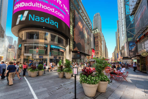 Broadway near Time Square and NASDAQ building in New York City stock photo