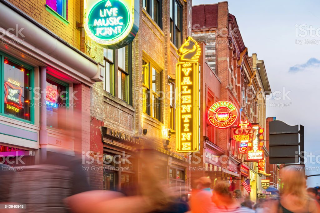 Broadway pub district in downtown Nashville Tennessee USA stock photo