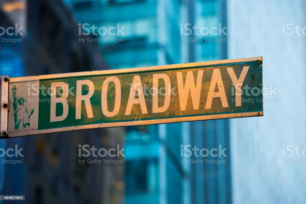 Broadway, road sign in New York City stock photo