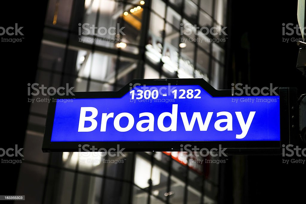 Broadway Road Sign, New York royalty-free stock photo