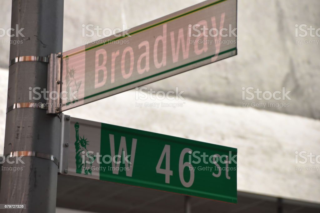 Broadway Street and 46 West New York stock photo