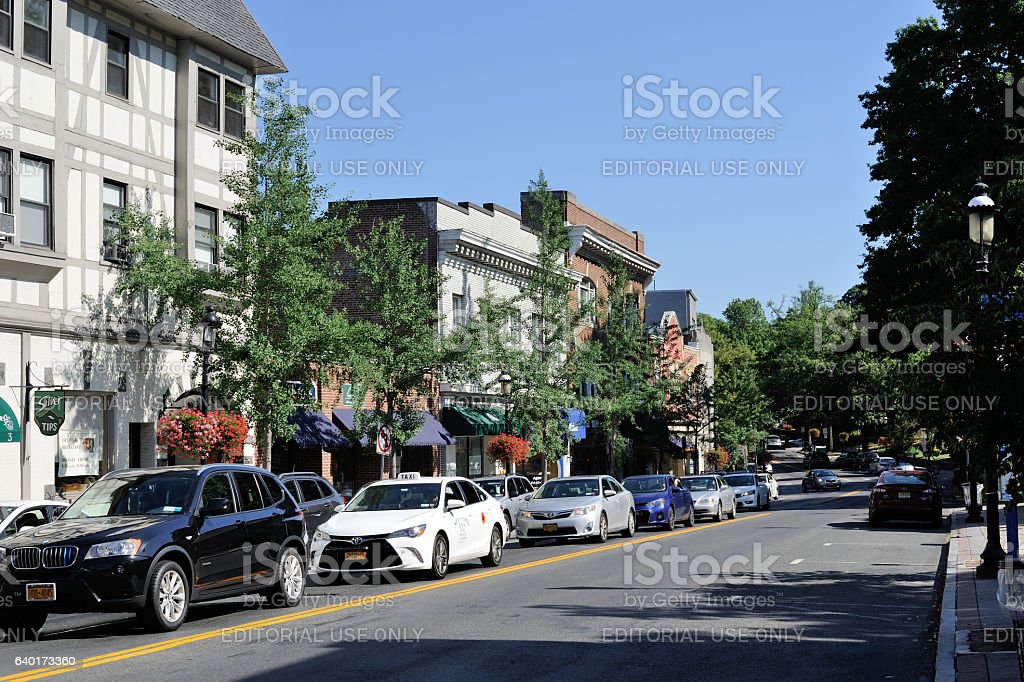 Broadway Street in Tarrytown stock photo