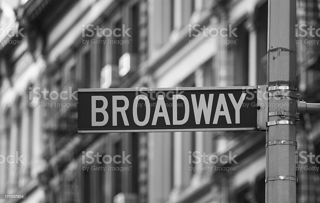 Broadway street sign in black and white royalty-free stock photo