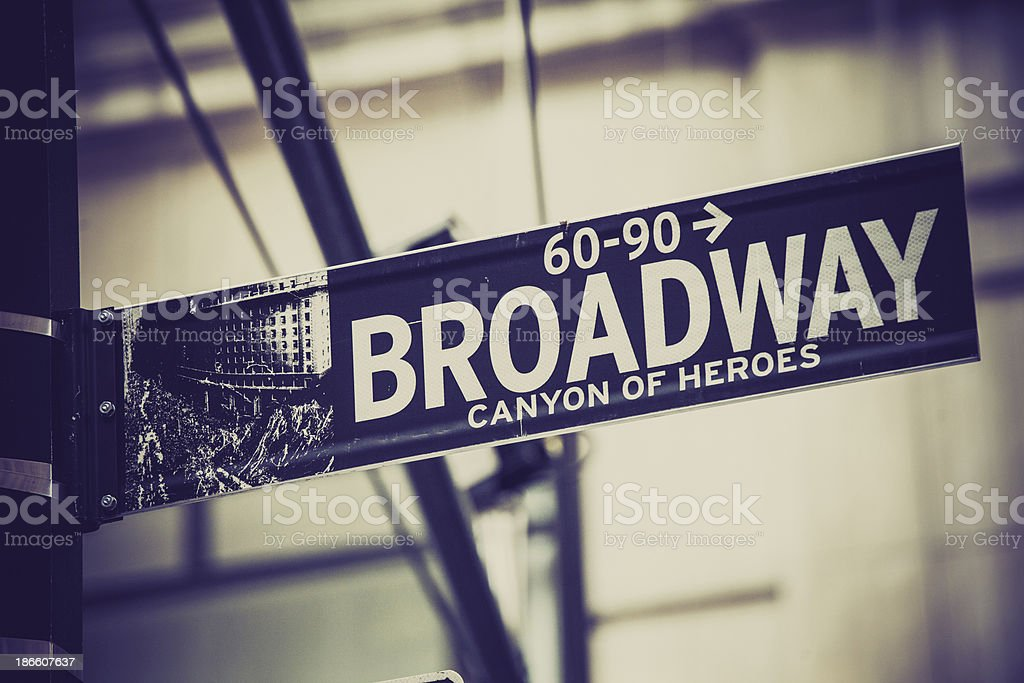 Broadway Street Sign in New York City, USA stock photo