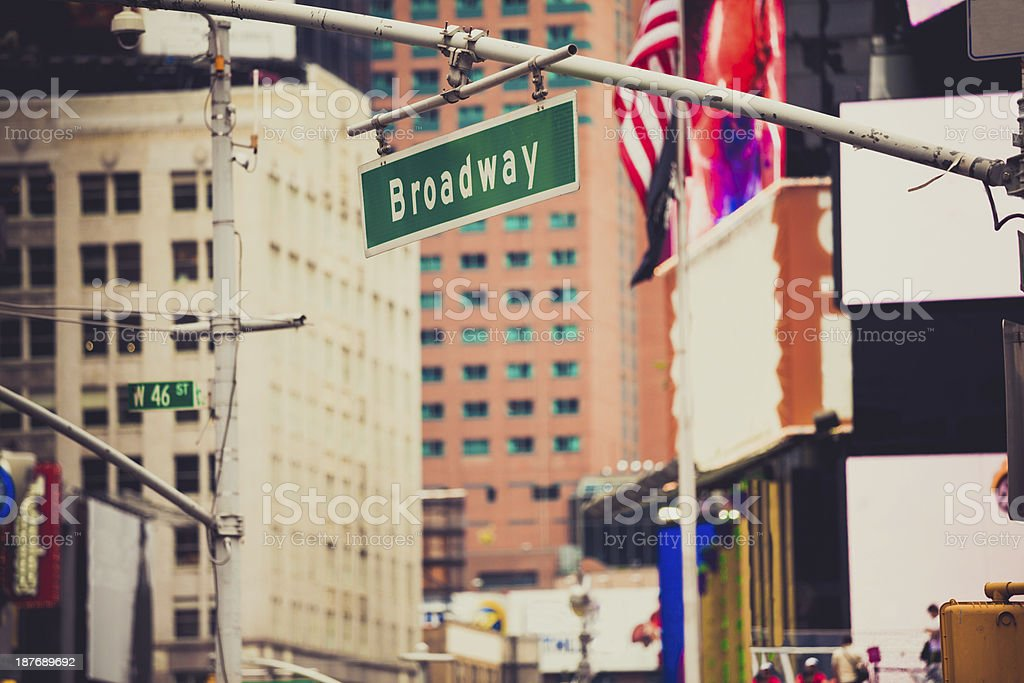 Broadway Street Sign in Times Square stock photo