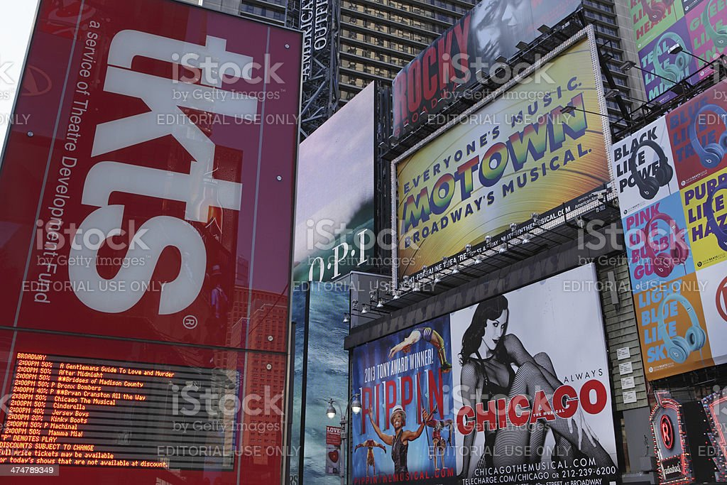 Broadway theater billboards and TKTS kiosk Times Square NYC stock photo