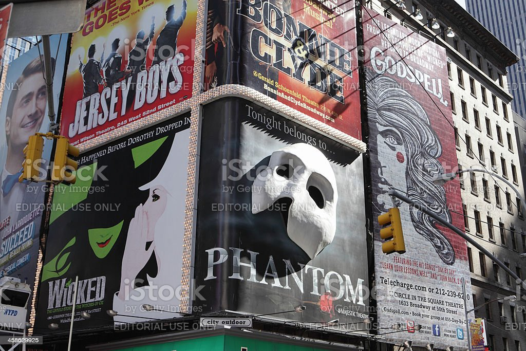 Broadway theater billboards Times Square NYC royalty-free stock photo