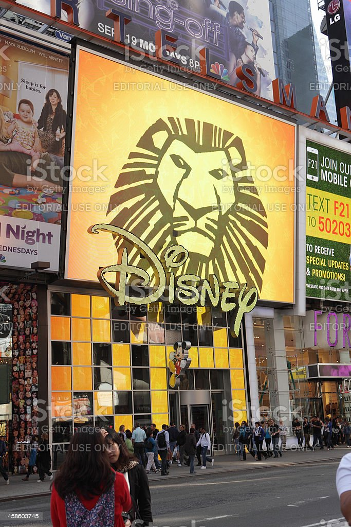 Broadway Times Square NYC Disney Store Lion King display stock photo