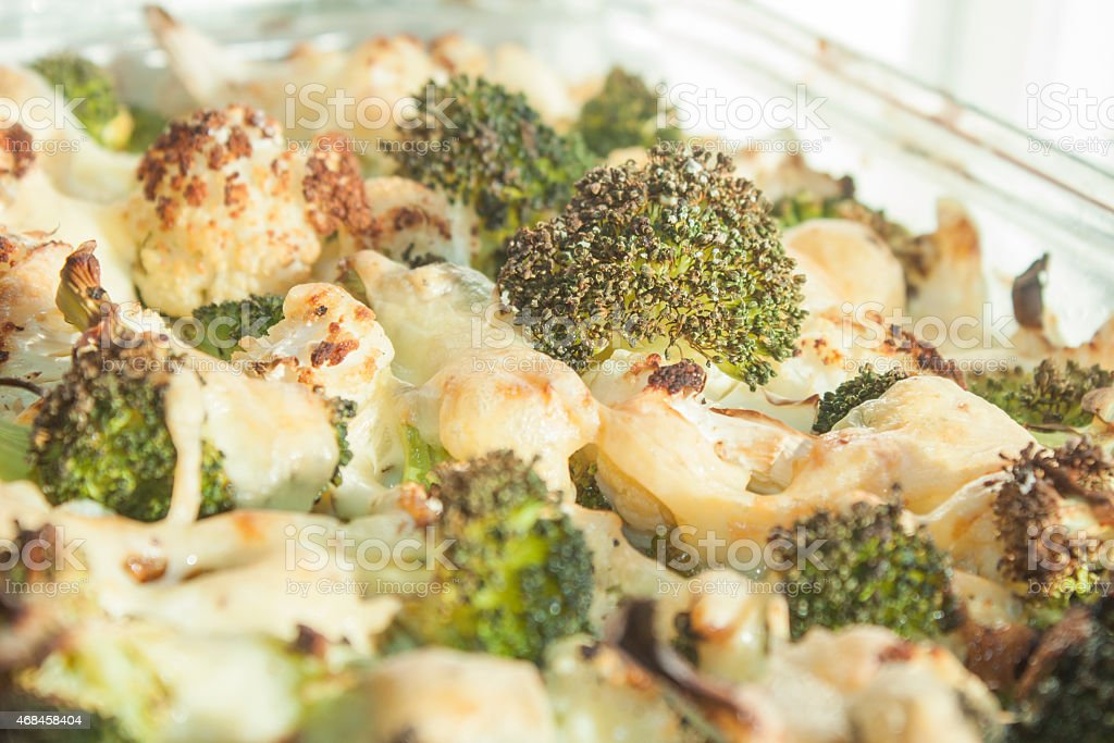 Broccoli and cauliflower gratin stock photo