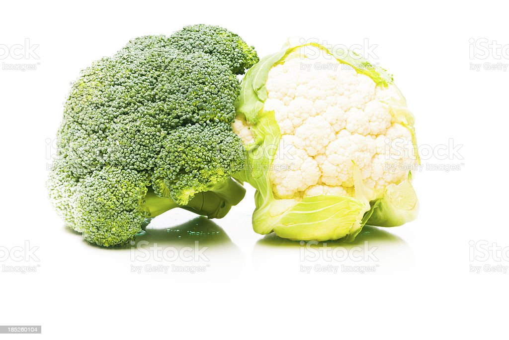 broccoli and cauliflower on white royalty-free stock photo