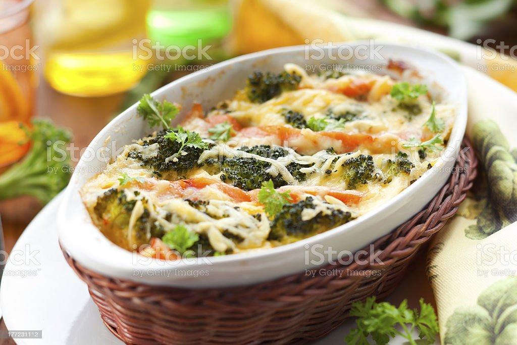 broccoli and salmon  gratin stock photo